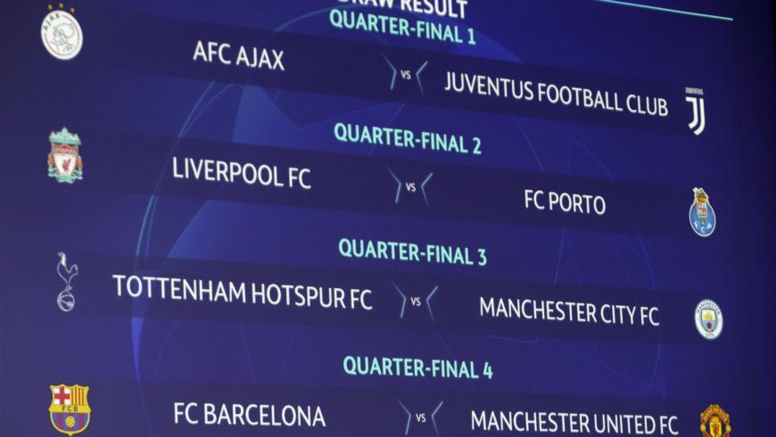 """Piłkarska LM – Ajax z Juventusem, """"ManU"""" kontra Barcelona w ćwierćfinałach"""